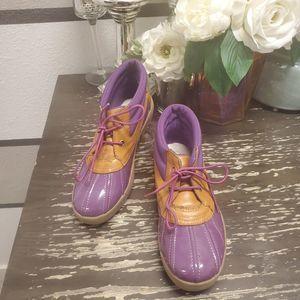 Lands End Girls Purple Duck Shoes Sz 2